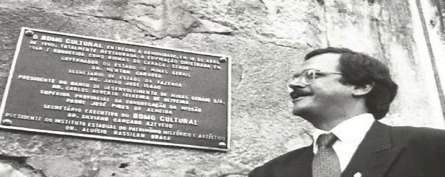 Placa Comemorativa da Restauração do Caraça e Carlos Alberto Teixeira
