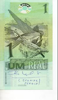 Única cédula de R$ 1 existente com autógrafo de Itamar Franco, presenteada a Carlos Alberto Teixeira de Oliveira