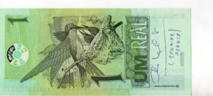 Cédula de R$ 1,00 com dedicatória de Itamar Franco a Carlos Alberto T. Oliveira